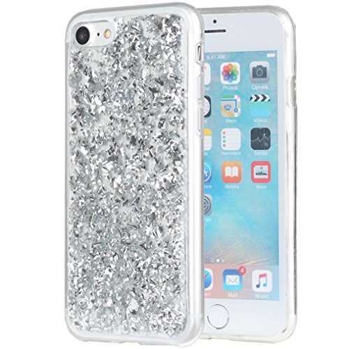 iPhone 8 Case iPhone 7 Glitter Case Vita Bling Luxury Pretty Girls Shining Flake Sparkle Star Soft Protective Cover - Silver