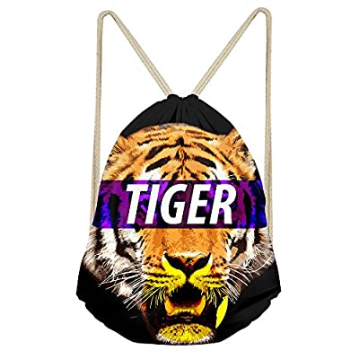 f2bd88732185 on sale Tiger Drawstring Backpack Bags Sackpack Soccer Cinch bag Gym ...