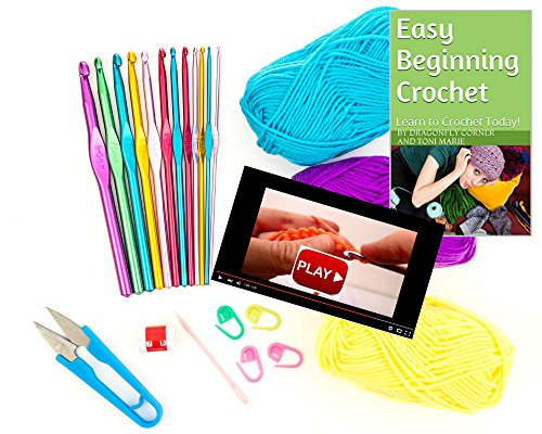Dragonfly Corner Easy Beginning Crochet Kit Complete Ebook, Crochet Hooks, Yarn, Videos, Accessories & Bonus Tote Bag