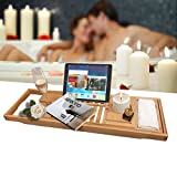 VOGUSLAND Natural Bamboo Bathtub Caddy organizer,Luxury Bathtub Tray with Extending Sides, Water Resistant, Reading Rack, Tablet Holder, Cellphone Tray and Wine Glass Holder, One or Two Person Bath