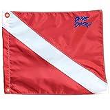 DIXIE DIVERS Scuba Diver Down Flag with Stiffener Florida Legal Size 12'' x 12'' Scuba Diving Freediving Snorkeling Nylon Flag