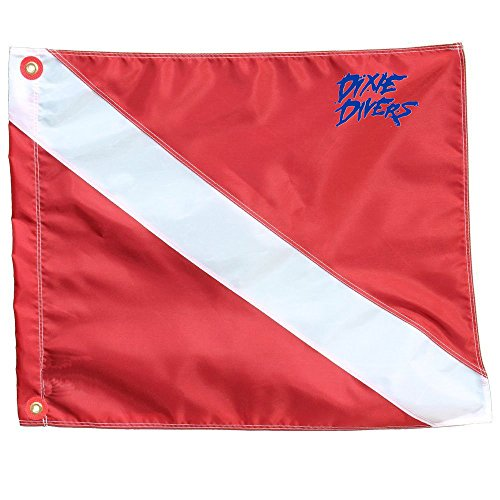 (DIXIE DIVERS Scuba Diver Down Flag with Stiffener Florida Legal Size 12