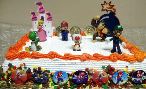 "Mario Brothers 23 Piece Birthday Cake Topper Set Featuring Mario Castle, Bomb, Mario Coins, 6 Mario Figures Including Mario, Luigi, Princess Peach, Toad, Yoshi, Donkey Kong, and 12 Mario 1"" Decorative Buttons"