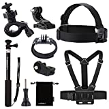 Luxebell 8-in-1 Accessories Kit for Sony Action Camera Hdr-as15 As20 As30v As100v As200v Hdr-az1 Mini Sony Fdr-x1000v, Chest Mount / Head Mount Kit / Selfie Stick / Wrist Mount