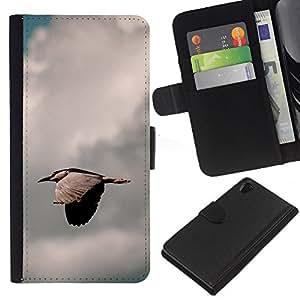 Protector de cuero de la PU de la cubierta del estilo de la carpeta del tirón BY RAYDREAMMM - Sony Xperia Z2 D6502 - Pájaro rápida