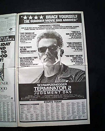 Best TERMINATOR 2: JUDGMENT DAY Movie Premiere Poster Size AD1991 L.A. Newspaper LOS ANGELES TIMES, July 3, 1991