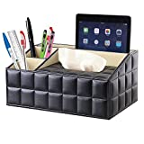 Black Leather Quilted Design Supplies Organizer With Built In Tissue Box Holder. 4 Compartment Desktop Organizer