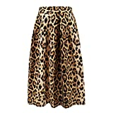 Hoohu Women's Vintage Fashion Animal Tiger Leopard Print Pleated Umbrella High Elastic Waist A-Line Midi Skirt Dress