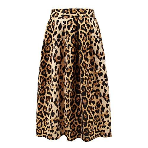 (Hoohu Women's Vintage Fashion Animal Tiger Leopard Print Pleated Umbrella High Elastic Waist A-Line Midi Skirt Dress)