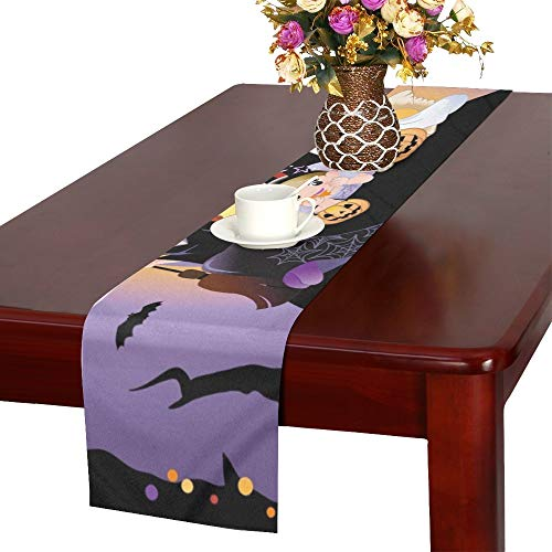WUTMVING Halloween Children Wearing Costume On Huge Table Runner, Kitchen Dining Table Runner 16 X 72 Inch for Dinner Parties, Events, Decor