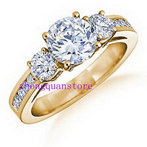 jacob alex ring Size6 Women's White Sapphire Zircon Engagement Ring 10kt Yellow Gold Filled