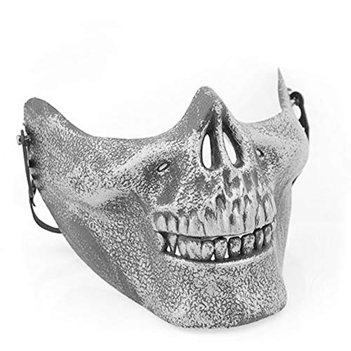 Tulas Plastic Horror Skull Jaw Mask Terror Half Face Shied Human Skeleton Warrior Ghost Mask for Halloween Party (Silver) -