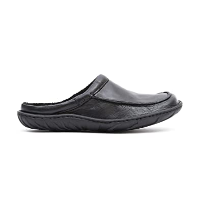 97c490af0a52 Clarks Mens Seasonal Kite Vasa Leather Slippers In Black Standard Fit Size  11