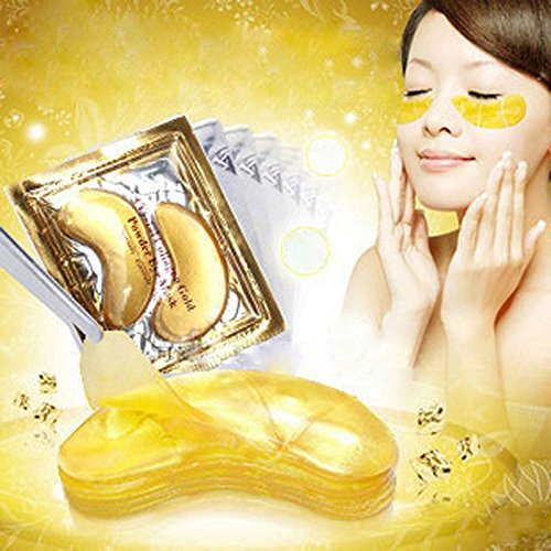 51Ym5HlFDxL - 24K Gold Powder Gel Collagen Eye Masks Sheet Patch, Anti Aging,Remove Bags,Dark Circles &Puffiness,Anti Wrinkle,Moisturising,Hydrating,Uplifting Whitening,Remove Blemishes &Blackheads (10 Pairs)