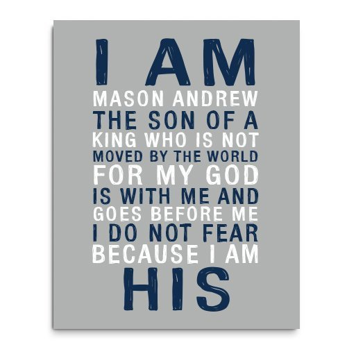 Amazon.com: I am His Paper Art Print | Boys Wall Art | Boy Name ...