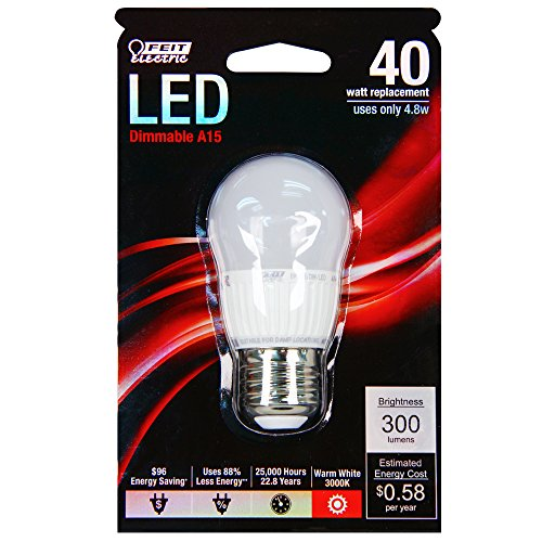 Frost Medium Base (Feit BPA15/DM/LED 40W Equivalent A15 Frost Medium Base LED Light)