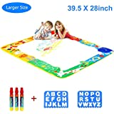 """Aquadoodle Mat, Kids Toy Large Water Doodle Mat 39.5"""" X 28"""" 3 Magic Pens 2 Drawing Molds, Kids Educational Learning Toy Gift Boys Girls Toddlers Age 2 3 4 5 6 Years Old Toddler Toys"""