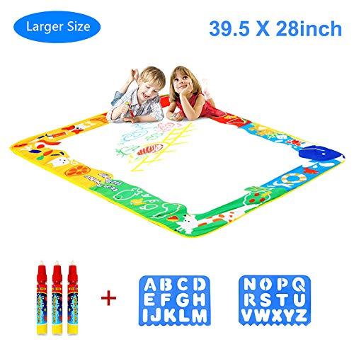 Aquadoodle Mat, Kids Toy Large Water Doodle Mat 39.5'' X 28'' with 3 Magic Pens 2 Drawing Molds, Kids Educational Learning Toy Gift for Boys Girls Toddlers Age 2 3 4 5 Years Old Toddler Toys by Niolio
