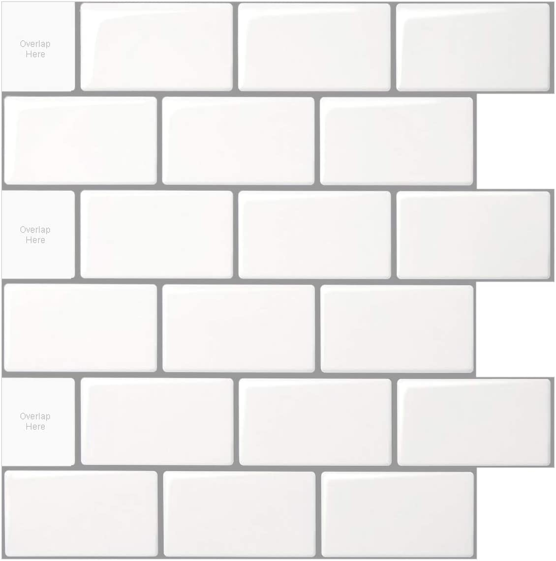 Longking 10 Sheet Peel And Stick Tile For Kitchen Backsplash 12x12 Inches White Subway Tile With Grey Grout Home Kitchen