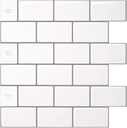 HomeyMosaic Peel and Stick Tile for Kitchen Backsplash 1-Sheet White Subay 12x12 inches Brown Marble Subway Tile with White Grout