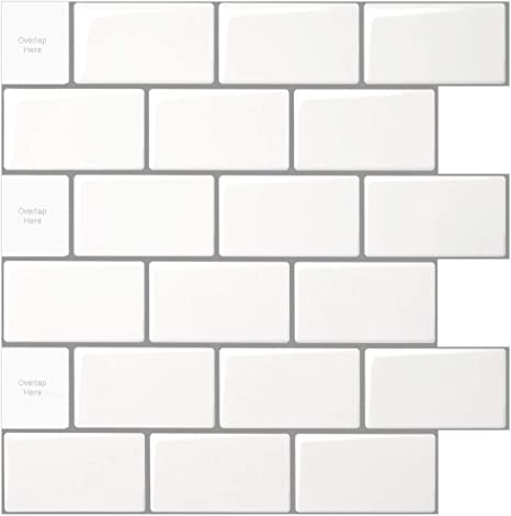 longking 10 sheet peel and stick tile for kitchen backsplash 12x12 inches white subway tile with grey grout