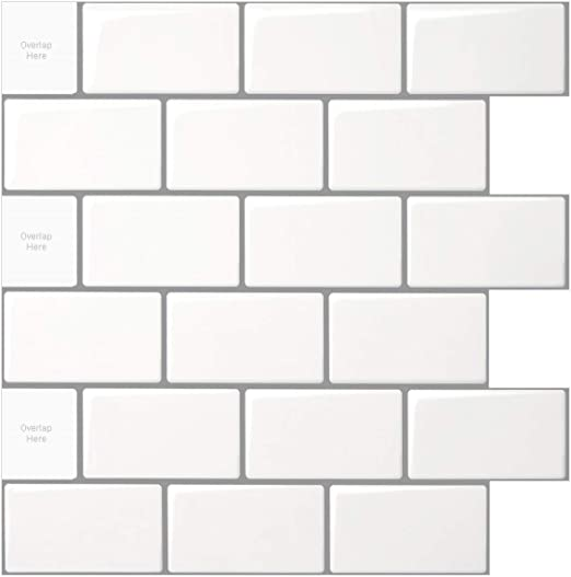 Amazon Com Longking 10 Sheet Peel And Stick Tile For Kitchen Backsplash 12x12 Inches White Subway Tile With Grey Grout Home Kitchen