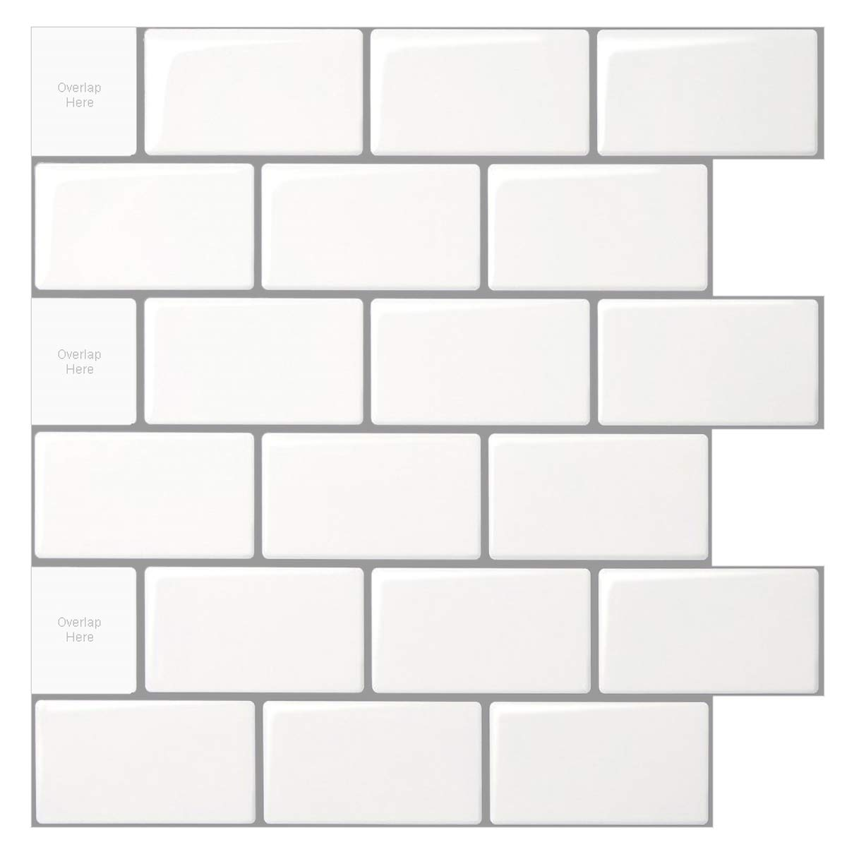 10 Sheet Peel And Stick Tile For Kitchen Backsplash 12x12 Inches White Subway Tile With Grey Grout