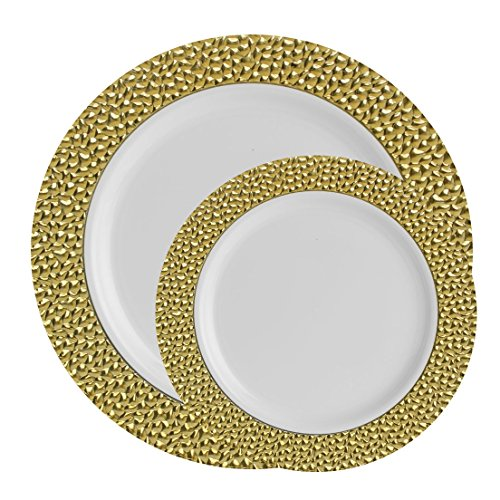Posh Setting Hammered Collection Combo Pack China Look Gold and White Plastic Plates,(Includes 20 10.25'' Dinner Plates and 20 7.25'' Salad Plates), Elegant Disposable (Yellow Rose Dinner Plate)
