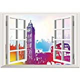SCOCICI Window Mural Wall Sticker/London,Historical Big Ben and Bus Great Bell Clock Tower UK Europe Street Landmark,Purple Red Yellow/Wall Sticker Mural