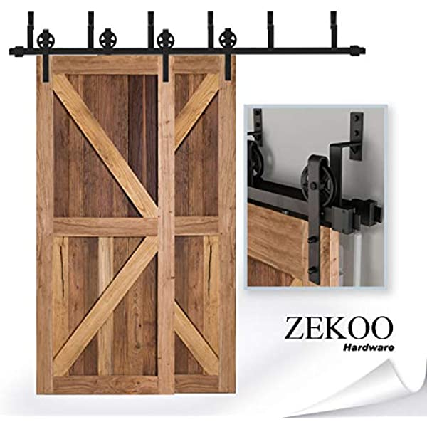 ZEKOO Antique Rustic Style Sliding Aluminum Barn Door Hardware Black Steel Rollers Hanger Big Wheel-Style