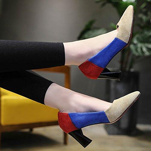 HRCxue Frauen Schuhe hohe Spitzen Stöckelschuhen weiblichen weiblichen weiblichen wildes Mädchen frische Farbe einzelne Schuhe weiblichen Hintern dick mit 35 3ac72b
