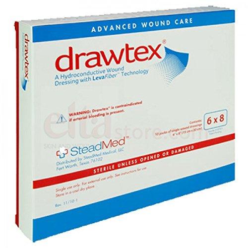 Drawtex Hydroconductive Dressing with Levafiber 6'' x 8'' [Box of 10] by STEADMED MEDICAL