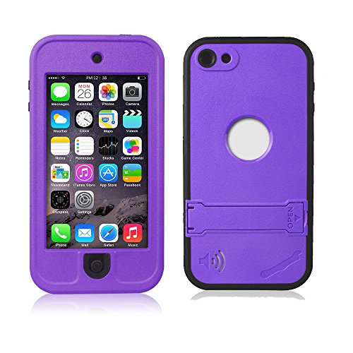 Efanr iPod 5 iPod 6 Case, Waterproof iPod Touch Defender Dustproof Sweatproof Case Cover with Kickstand Touch Screen for Apple iPod Touch 5th & 6th Generation (Purple)
