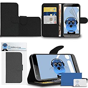 iTALKonline LG G5 cuero PU ejecutiva Altavoz multifunción cobertura del Clasificador con organizador/Préstamos para tarjetas de visita de dinero horizontal integrado visualización Display stand, 3 capas la protector de pantalla LCD