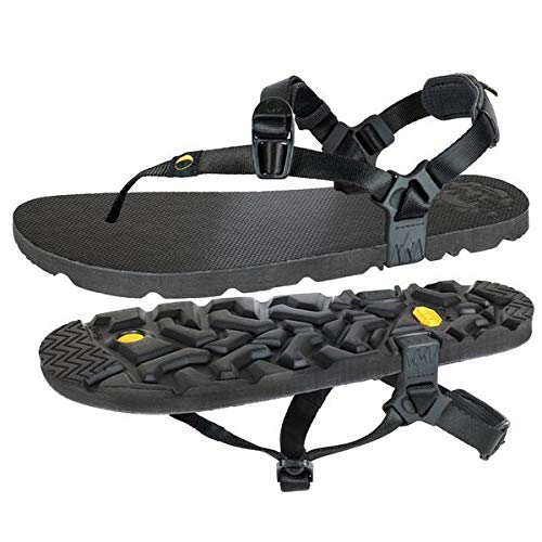 MONO Winged Edition by LUNA Sandals | Unisex Lightweight Athletic Sandals 5.9oz | 11mm (+ 4mm lugs) Vibram Sole | Ideal for Walking, Running, Hiking, Camping, Traveling | Black Huarache Adjustable Fit (Men's 6 / Women's 8)