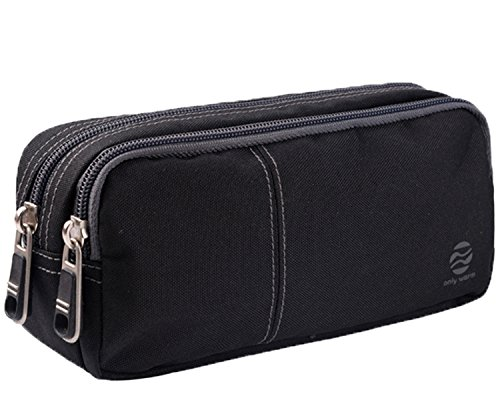 Pencil Case Large Pencil Pouch with Double Zippers Multi Compartments for Girls Boys Adults Black