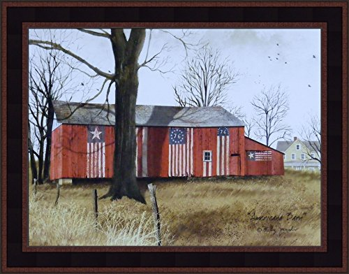 (Americana Barn by Billy Jacobs 15x19 American Patriotic Red Flag Barn Country Primitive Folk Art Print Framed Picture (Country Black Woodtone))