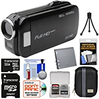 Bell & Howell Slice2 DV7HD 1080p HD Slim Video Camera Camcorder (Black) with 32GB Card + Battery + Case + Tripod + Kit