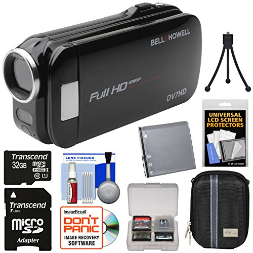 Bell & Howell Slice2 DV7HD 1080p HD Slim Video Camera Camcorder (Black) with 32GB Card + Battery + Case + Tripod + Kit (Dnv16hdz Howell Bell)