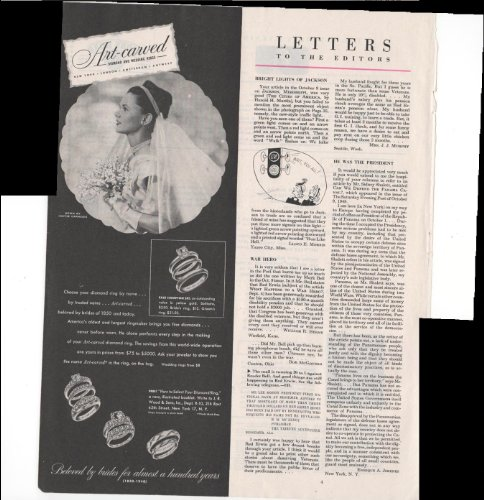 Art-Carved Diamond And Wedding Rings New York London J.R. Wood & Sons Inc. 1948 Vintage Antique Advertisement