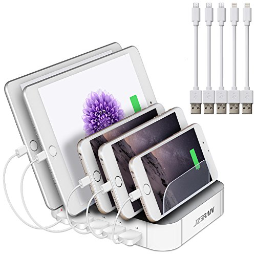 White Station (JZBRAIN Multi Device Charging Station 5 Port 5 Cables Included (White))