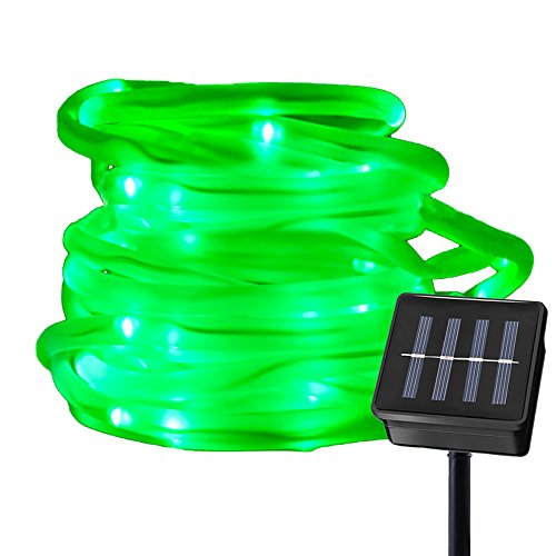 Ruichen Solar Powered String Light,16.5FT 50 LED Strip Rope Tube Fairy Lights Waterproof For Outdoor Garden Wedding Party Christmas Xmas Decoration(Green)