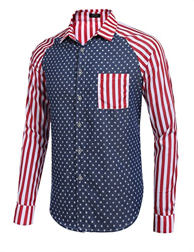 COOFANDY-Mens-Cotton-Long-Sleeve-America-Striped-Pocket-Casual-Button-Down-Dress-Shirt