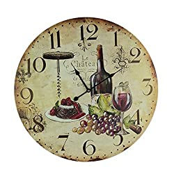 IMAX Wooden Wine Wall Clock Hanging Grapes