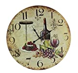 wine and grape kitchen clock - IMAX Wooden Wine Wall Clock Hanging Grapes