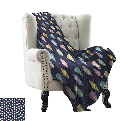 BelleAckerman Fleece Blanket Colorful,Graphic Gemstones with Different Shapes Trillion Drop and Marquise Cut Pattern,Multicolor Microfiber All Season Blanket for Bed or Couch Multicolor 30