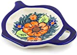 Polish Pottery 4¼-inch Tea Bag or Lemon Plate (Butterfly Splendor Theme) Signature UNIKAT + Certificate of Authenticity