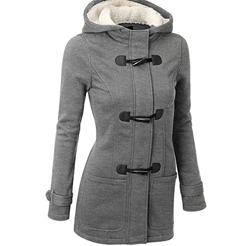 Amazon.com: Daimer Women Plus Size Fall Winter Horn Button Outwear Warm Hoodie Coat Jacket: Clothing