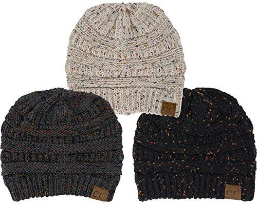 H-6033-3-066667 Confetti Knit Beanie Bundle - 1 Black, 1 Melange Grey, 1 Oatmeal (3 Pack)