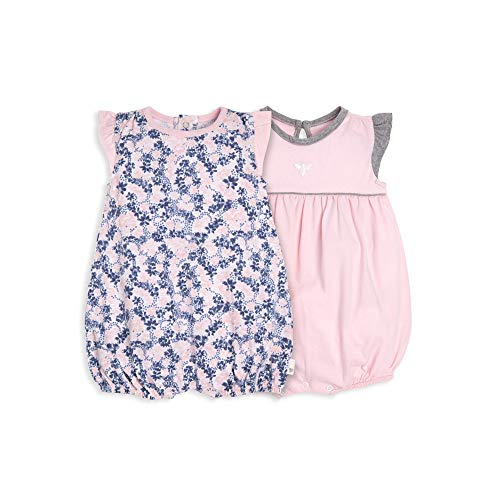 Burt's Bees Baby Baby Girls Rompers, Set of 2 Bubbles, One Piece Jumpsuits, 100% Organic Cotton, Ditsy Floral/Blossom, 3-6 Months